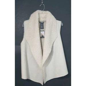 Chelsea & Theodore XL Open Vest Faux Fur Suede NWT